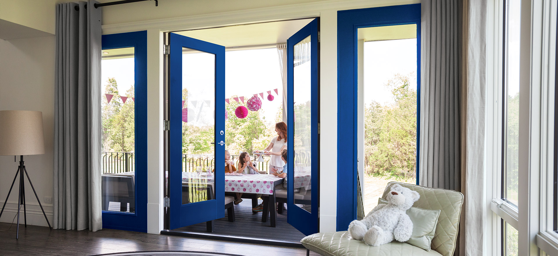 Double fiberglass patio doors and a party on patio