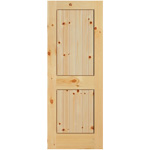 Knotty pine 2 Panel Square Top V-Groove Interior Door