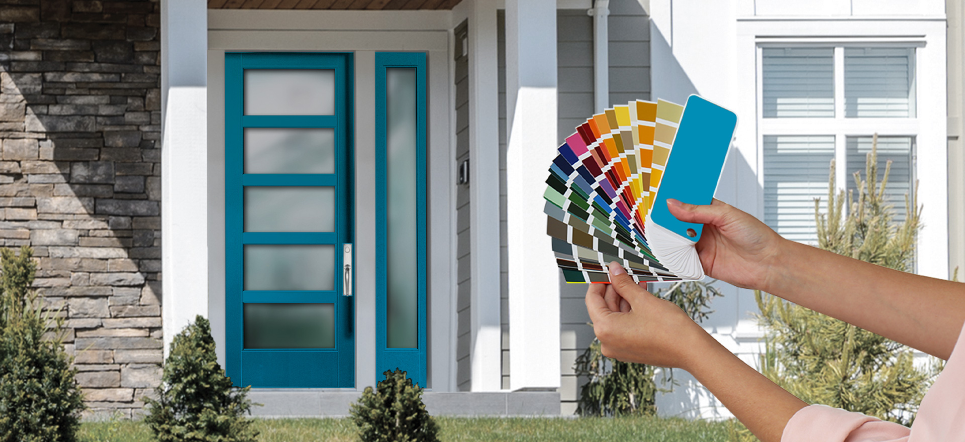 Woman holding a variety of paint sample options while in front of a house with a modern style 5 lite turquoise door with 1 Sidelite