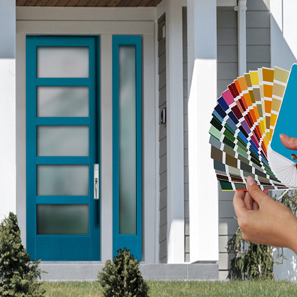Transitional style home front porch with a 5 lite turquoise door with sidelites