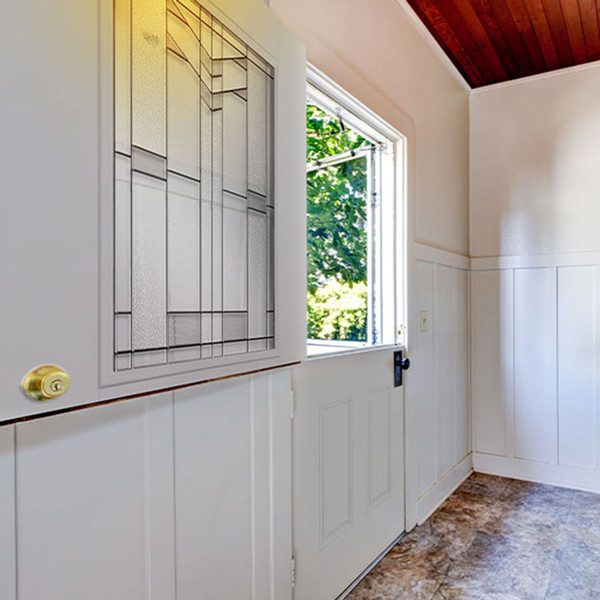 Half open half lite 2 panel white Dutch door