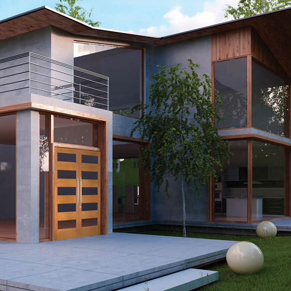 Modern style home with 5 lite wooden grain double doors