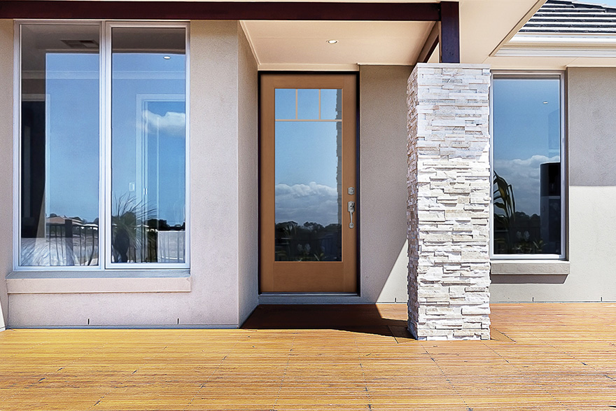 modern home walkway with flush glazed door