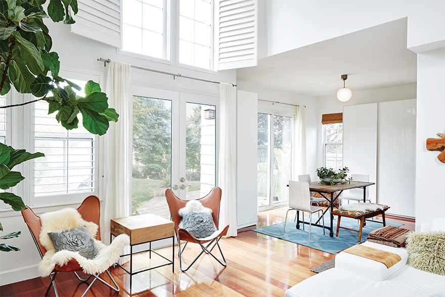 scandinavian style living room with flush glazed doors