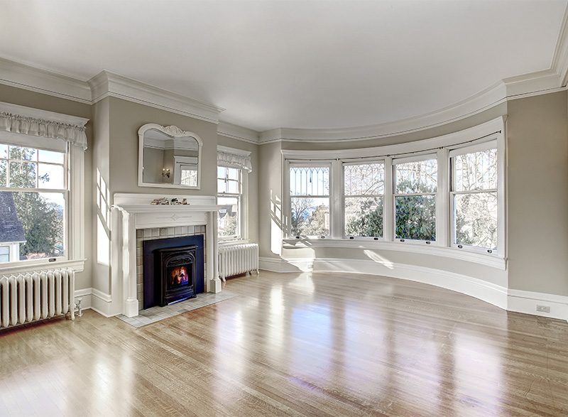 moulding living room with fire place