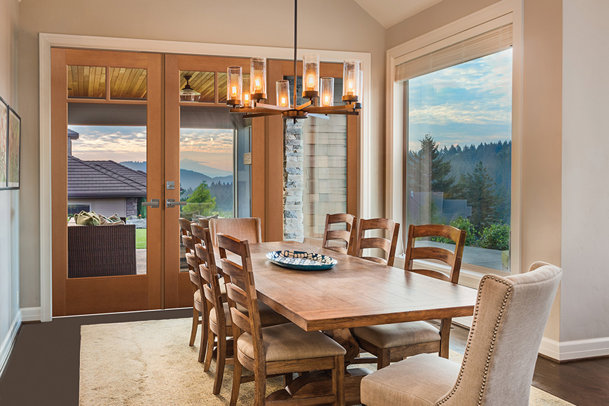 Modern Rustic style dining room with fiberglass fir grain full lite VistaGrande double doors